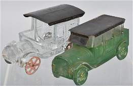 2 GLASS  TIN AUTOMOBILE CANDY CONTAINERS