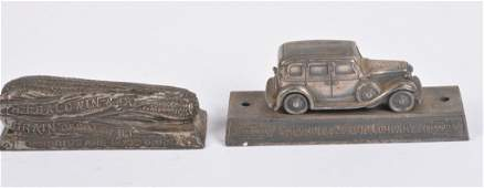 2- ADVERTISING FIGURAL PAPER WEIGHTS