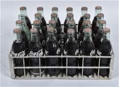 24- Vintage COCA COLA GLASS BOTTLES w/ CARRIER