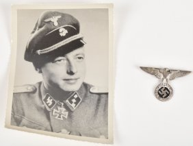Lot Nazi German Ss Officer Photo & Ss Eagle