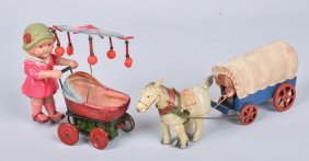 Japan Celluloid Windup Wagon & Lady W/ Carriage