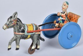 Gama Tin Windup Clown & Donkey Kart