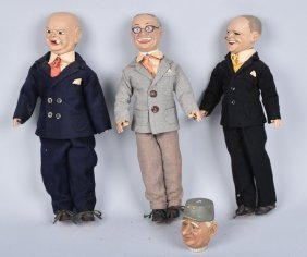 Lot Of 4 Chracter Dolls, Truman, Churchill & More