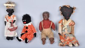 Lot Of 4 Black Dolls, Bisque & More