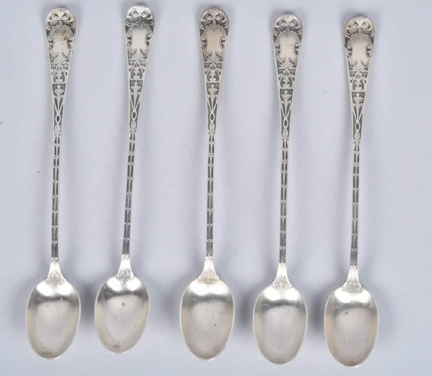 Lot of 5 STERLING SILVER ICED TEA SPOONS