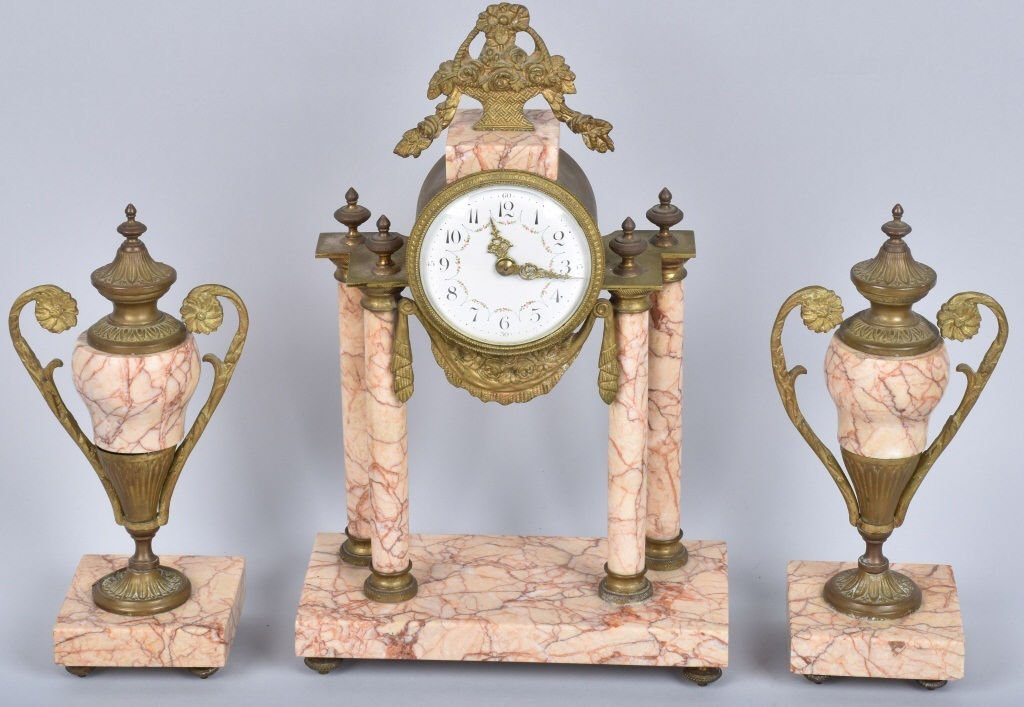 FRENCH EMPIRE MARBLE & BRONZE CLOCK SET