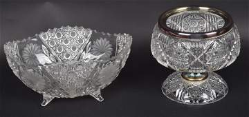 Lot of 2 CUT GLASS FOOTED COMPOTE BOWLS