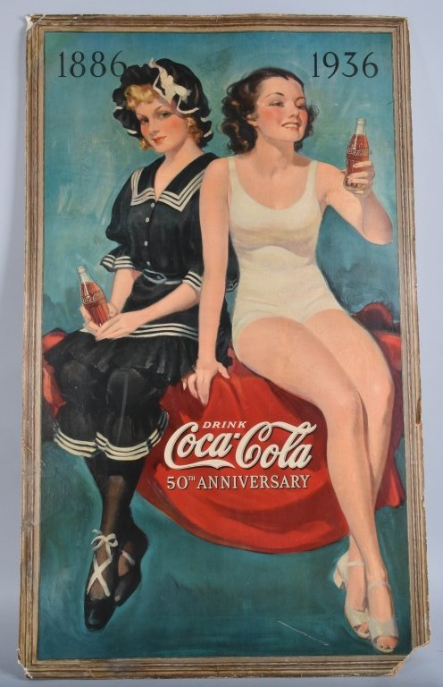 LARGE 1886-1936 COCA COLA ADVERTISING SIGN