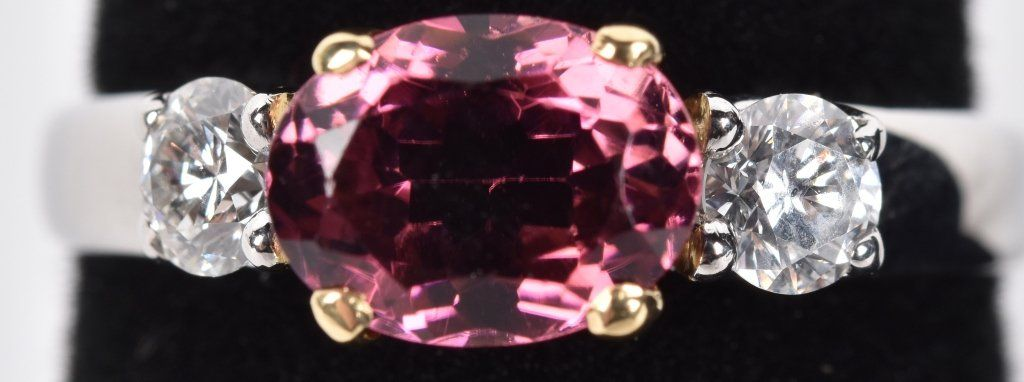 PLATINUM PINK TOURMALINE & DIAMOND RING