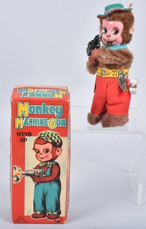 MM Windup MONKEY MACHINE GUN w/ BOX