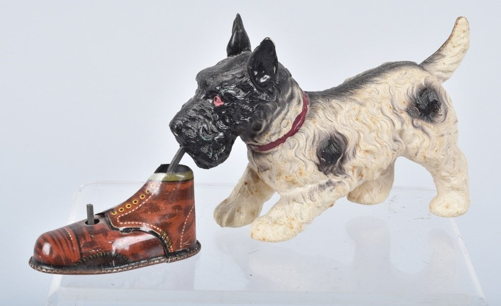 Large JAPAN Tin & Celluloid Windup DOG w/SHOE