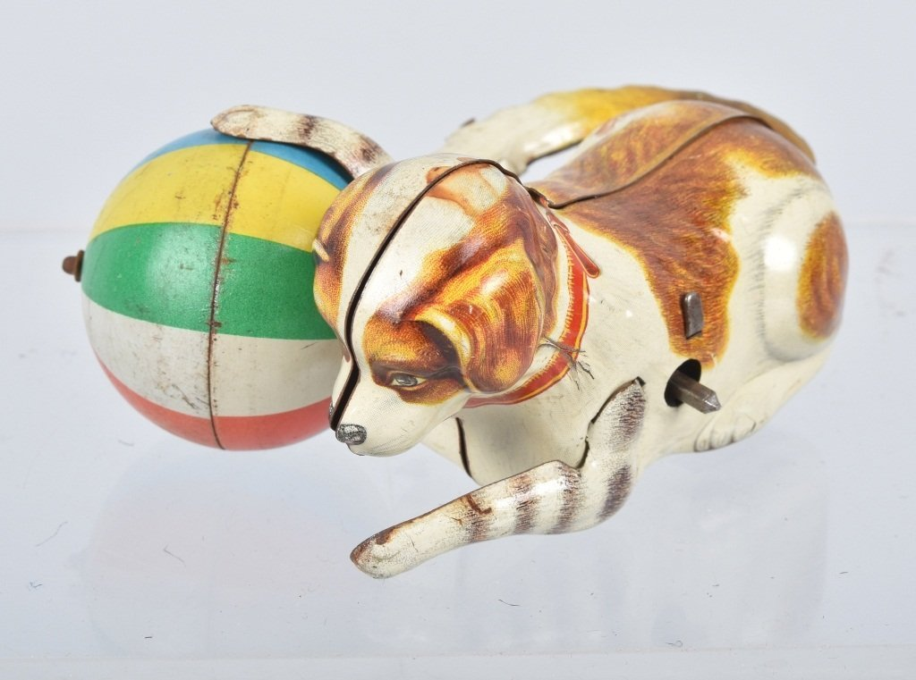 US ZONE GERMANY Tin Windup ROLL OVER DOG w/ BALL