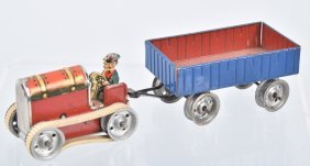 Tin Windup Gama Tractor With Trailer