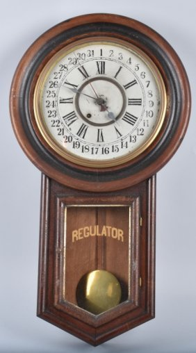 Regulator Oak Calendar Wall Clock