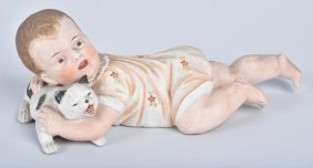 Huebach Style Bisque Piano Baby With Kitten