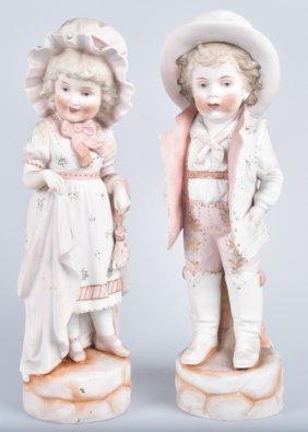 Large Bisque Figures Set, Vintage