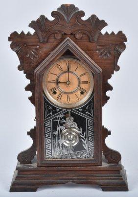 Antique Ansonia Carved Oak Kitchen Clock