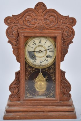 Antique New Haven Oak Kitchen Clock