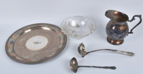 Lot Of Silvered Bowl And Silver Plate