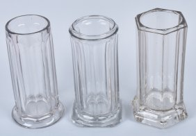 3- Vintage Glass Straw Holders