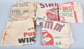 Lot Of Vintage Cotton Race Horse Feed Bags