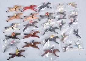Huge Lot Of Cast Metal Horse & Jockey Figures