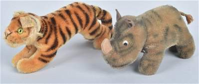 2- Eary STEIFF NOSY RHINO & YOUNG TIGER