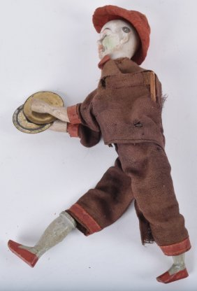 Early Bisque Clown With Cymbals