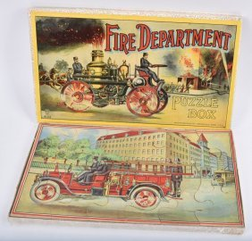Early MILTON BRADLEY FIRE DEPARTMENT PUZZLE BOX