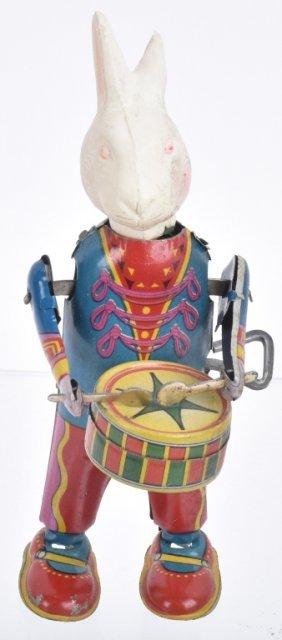 Japan Tin & Celluloid Windup Rabbit Drum Major