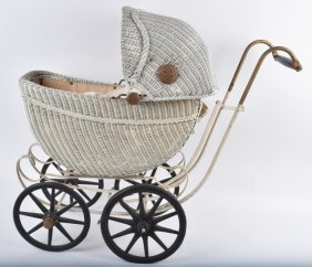 Wicker Baby Buggy With Wood Spoked Wheels