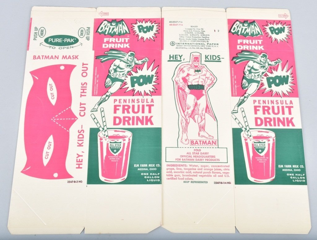 25- 1966 BATMAN FRUIT DRINK NOS CARTONS - 2