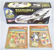 BATMAN MOBILE AND TWO BATMAN FIQURES ON CARDS