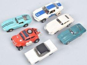 Vintage Ho Aurora And Marx Slot Cars Group Of 6