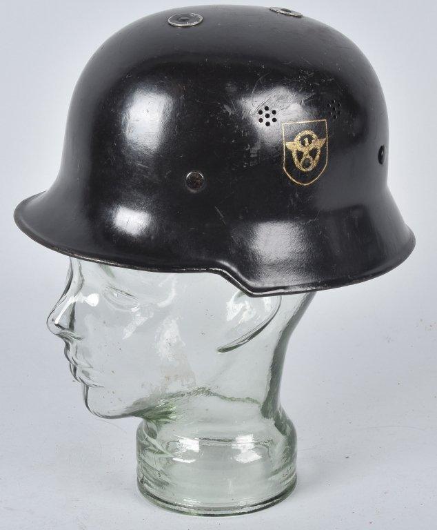 WWII GERMAN M-34 POLICE/ FIRE HELMET, NAMED