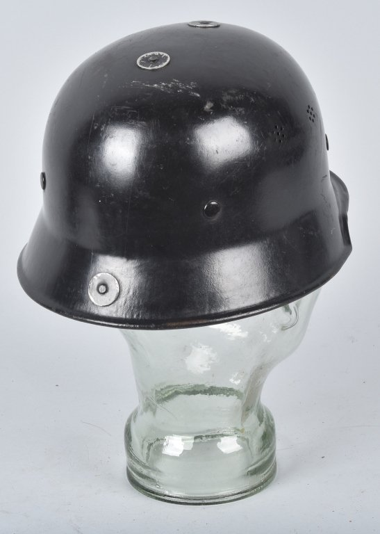 WWII GERMAN M-34 POLICE/ FIRE HELMET, NAMED - 2