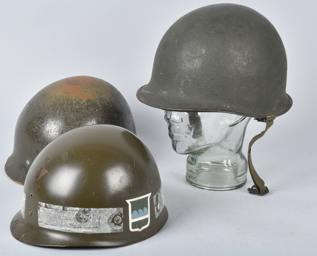 WWII U.S. M-1 HELMET and 3 LINERS