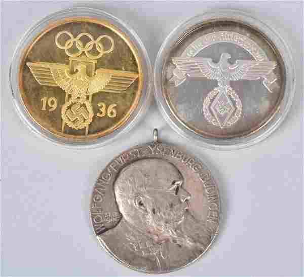 LOT of 3 SILVER GERMAN MEDALLIONS