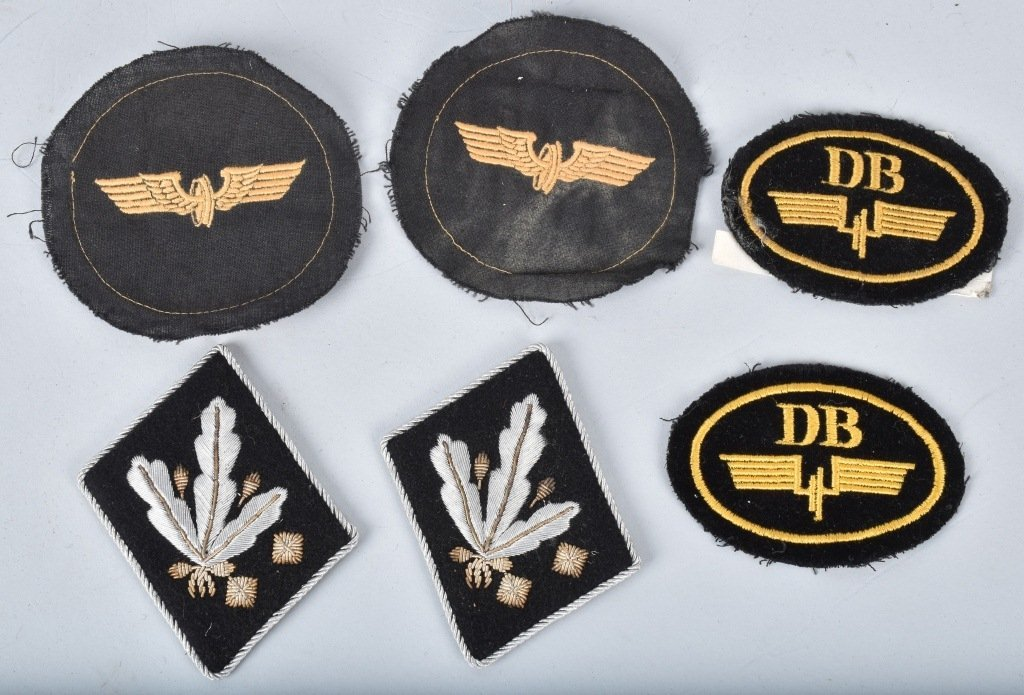 NAZI GERMAN SS COLLAR TABS and RAILROAD PATCHES