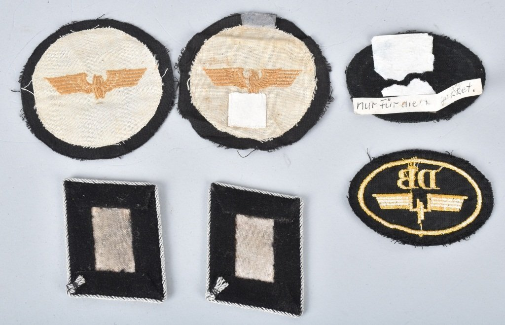 NAZI GERMAN SS COLLAR TABS and RAILROAD PATCHES - 2