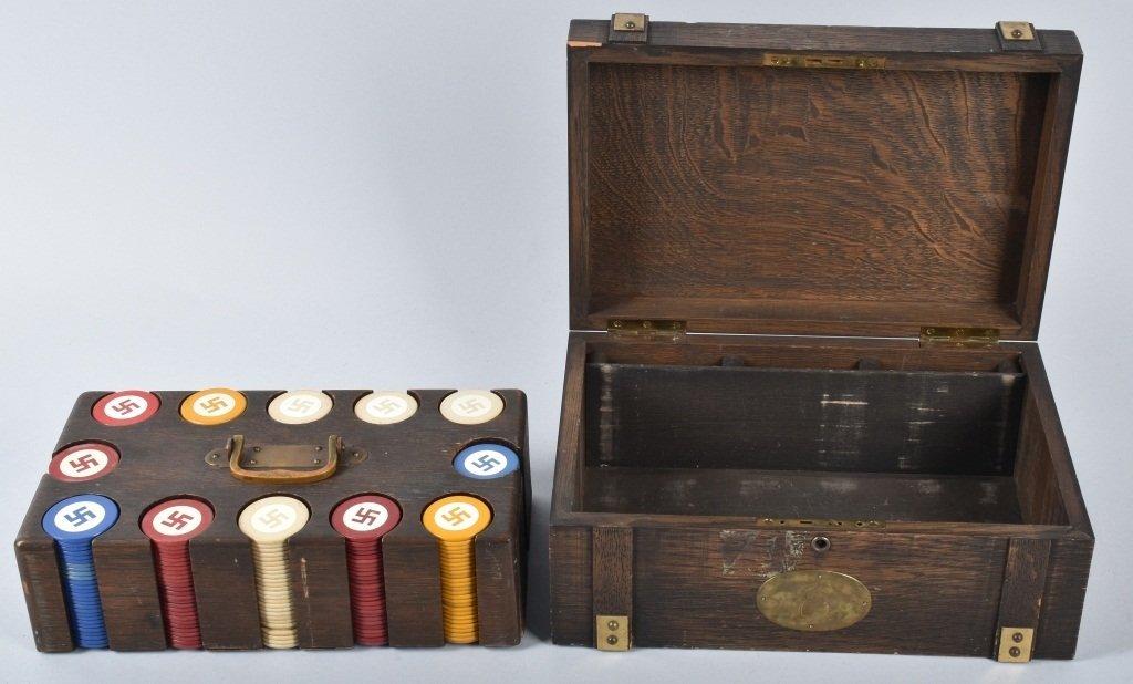 NAZI GERMAN POKER CHIPS IN WOOD BOX