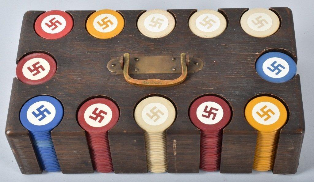 NAZI GERMAN POKER CHIPS IN WOOD BOX - 2