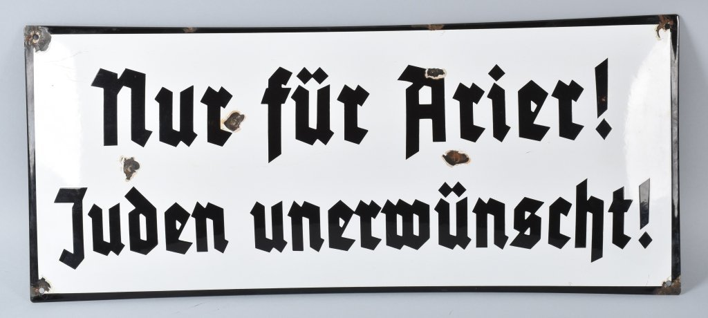 "NAZI GERMAN PORCELAIN SIGN ""ANTI JEWISH"""