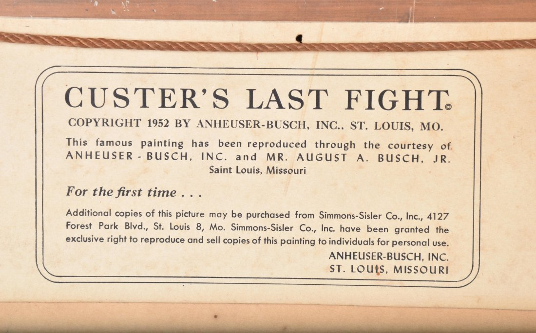 CUSTERS LAST STAND ANHEUSER BUSCH SIGN - 7