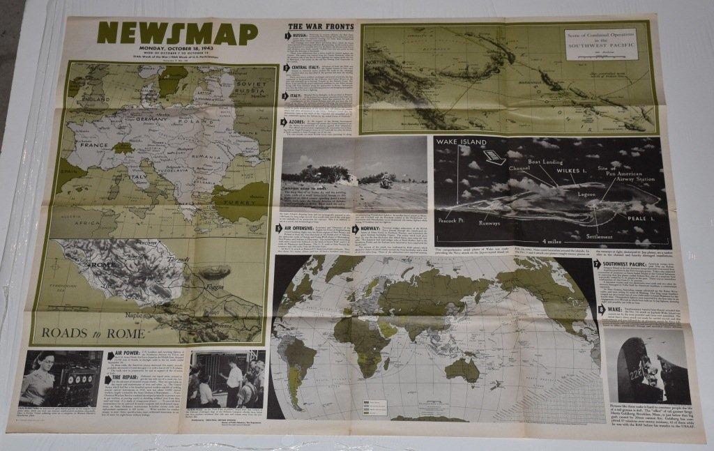 LOT OF 3 WW2 NEWS MAPS