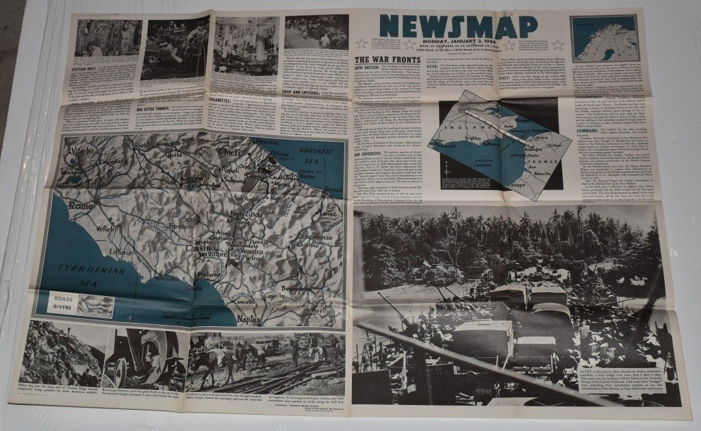 LOT OF 3 WW2 NEWS MAPS
