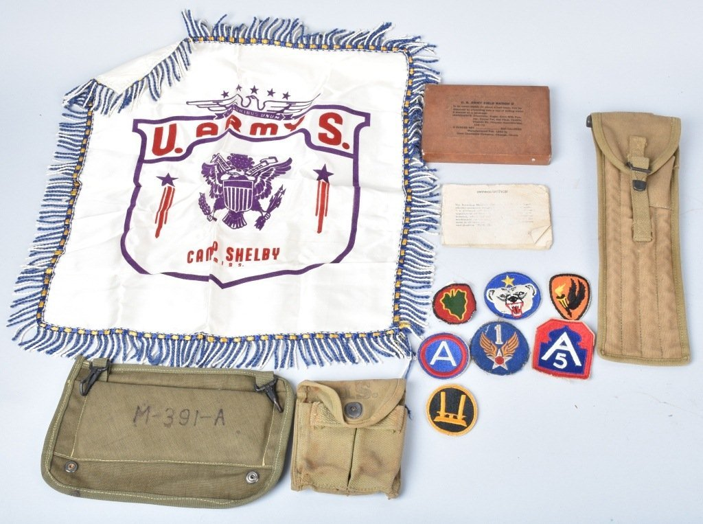 WWII PATCHES, MI CLEANING KIT, RATIONS, & MORE