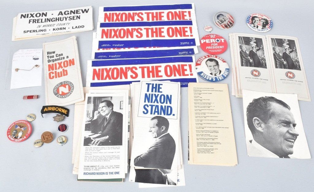 LARGE LOT OF NIXON BUTTONS, PAPERS, & MORE