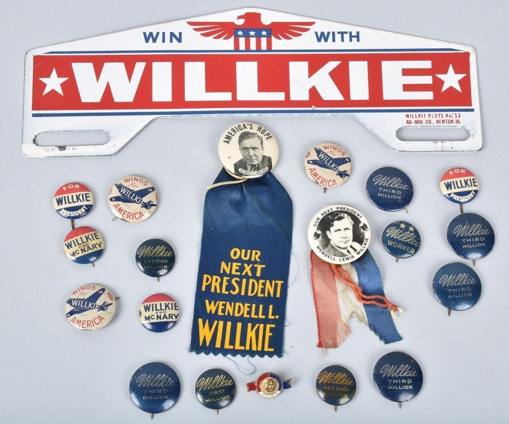 WILLKIE FOR PRSIDENT PINS, PLATE TOPPER, & MORE