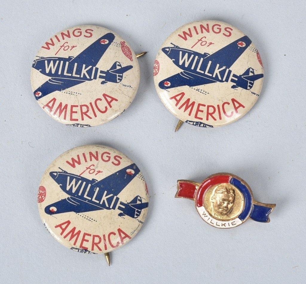 WILLKIE FOR PRSIDENT PINS, PLATE TOPPER, & MORE - 3